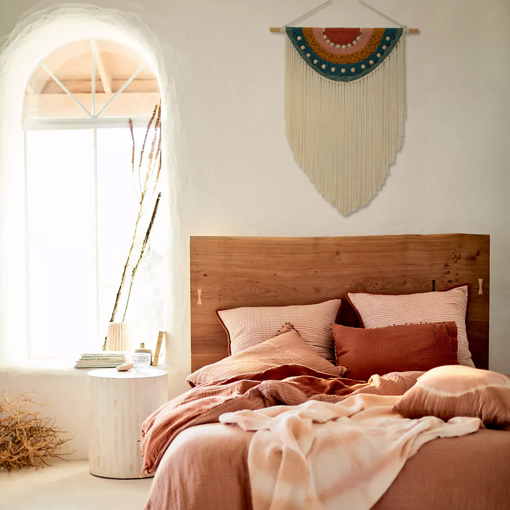 TDy Corners Decorating Bedroom with Boho Style by Macrame Rainbow Wall Hanging (11)