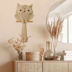 TDy Corners Decorating Console Table with Macrame Owl Wall Hanging
