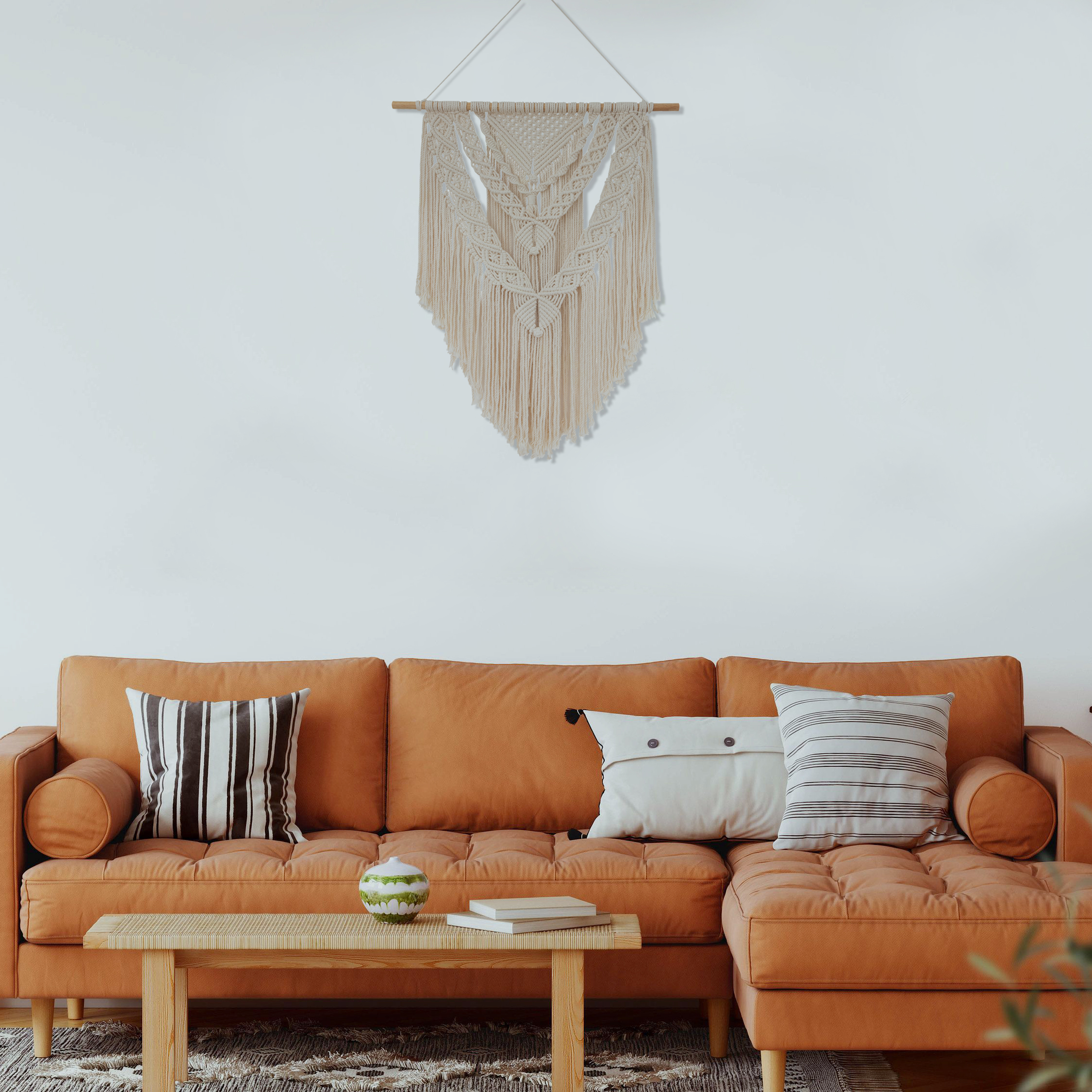 TDy Corners Decorating Living Room with Boho Style by Macrame Wall Hanging (4)
