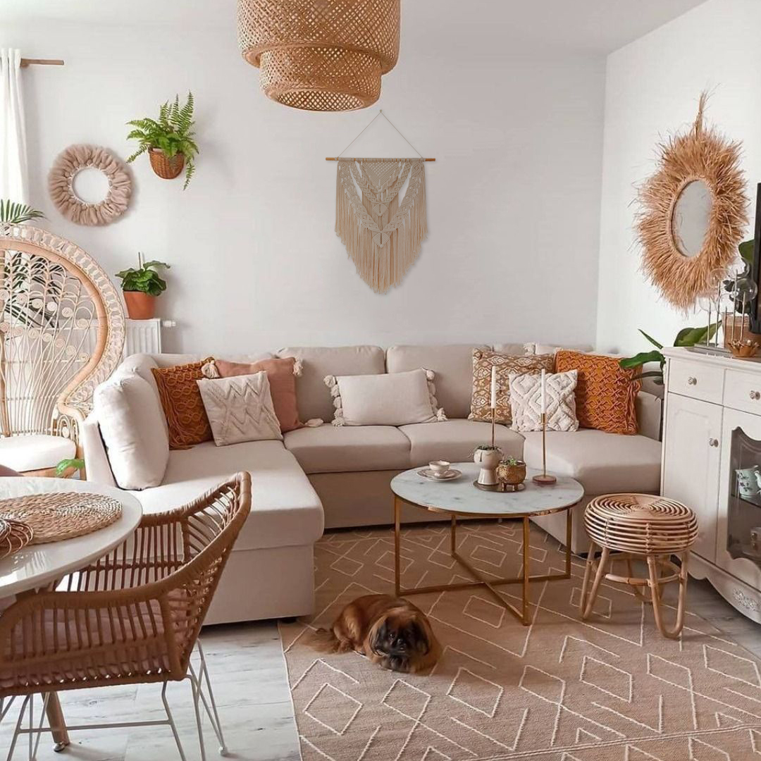 TDy Corners Decorating Living Room with Boho Style by Macrame Wall Hanging (7)
