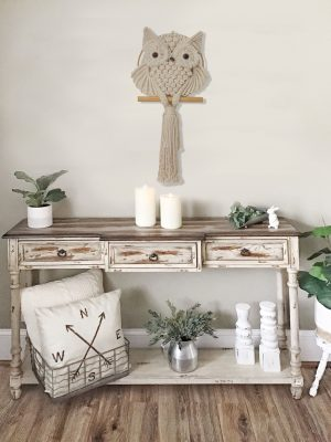 TDy Corners Farmhouse Decorating with Macrame Owl Wall Hanging