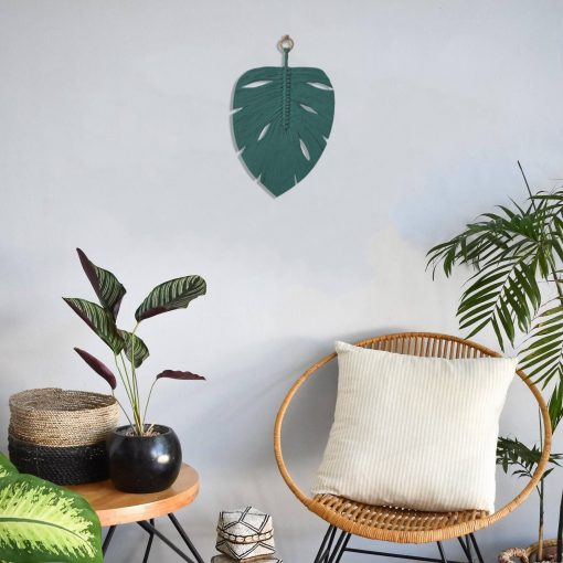 TDy Corners Macrame Feather Monstera Leaf Wall Hanging (3)