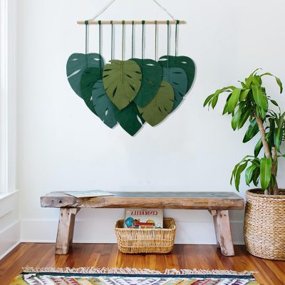 TDy Corners Macrame Feathers Monstera Leaves Wall Hanging (12)