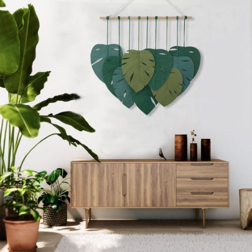 TDy Corners Macrame Feathers Monstera Leaves Wall Hanging (14)