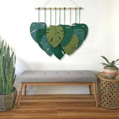 TDy Corners Macrame Feathers Monstera Leaves Wall Hanging (17)