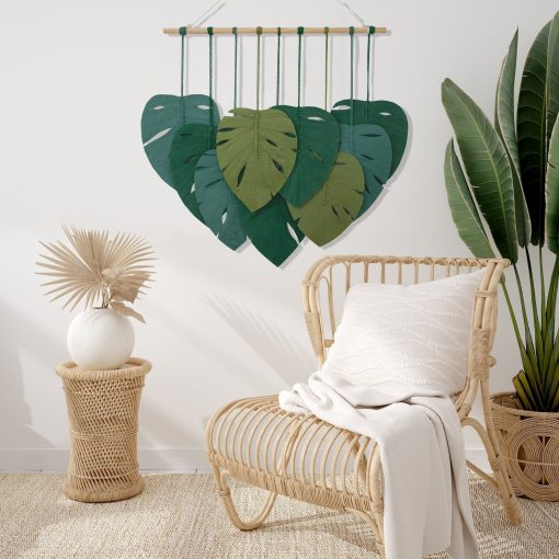 TDy Corners Macrame Feathers Monstera Leaves Wall Hanging (21)