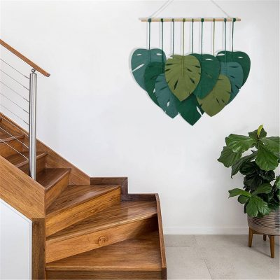 TDy Corners Macrame Feathers Monstera Leaves Wall Hanging (29)