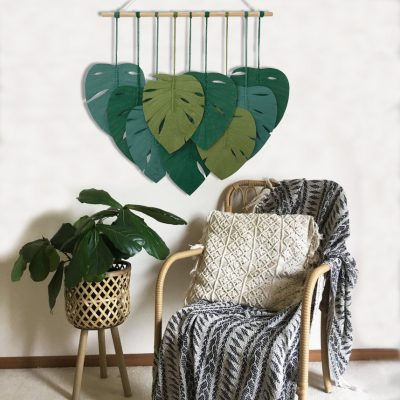 TDy Corners Macrame Feathers Monstera Leaves Wall Hanging (3)