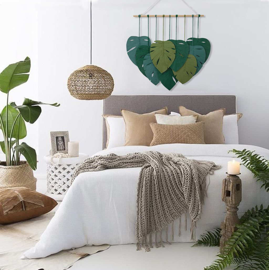 TDy Corners Macrame Feathers Monstera Leaves Wall Hanging (5)
