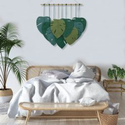 TDy Corners Macrame Feathers Monstera Leaves Wall Hanging (7)