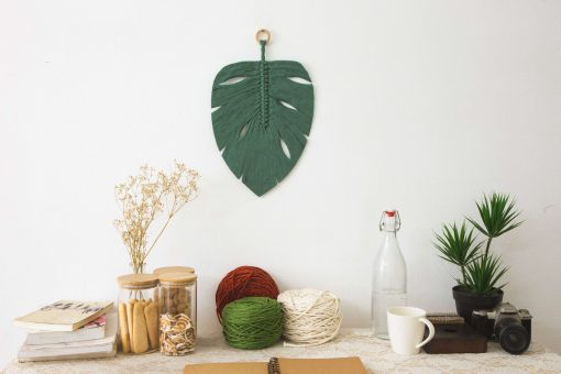 TDy Corners Macrame Monstera Leaf Wall Hanging For Gift And Home Decoration With Bohemian Style (100% Cotton, 9 Inch W, 13 Inch L)