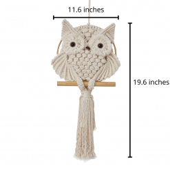 TDy Corners Macrame Owl Wall Hanging For Gift And Home Decoration In Living Room, Bedroom, Nursery With Boho Style (100% Cotton, Ivory-white, 11.6 Inches In Diameter)