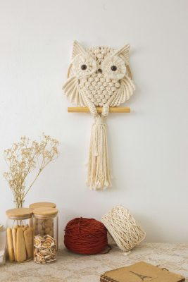 TDy Corners Macrame Owl Wall Hanging For Gift And Home Decoration In Living Room, Bedroom, Nursery With Boho Style (100% Cotton, Ivory-white, 11.6 Inches In Diameter) (7)