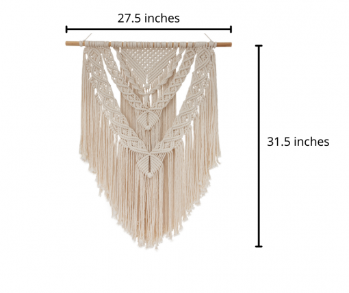 TDy Corners Macrame Wall Hanging For Gift And Home Decoration In Living Room, Bedroom, Nursery With Boho Style (100% Cotton, 22 inch W, 33 inch L, Wooden Stick Included) (1)