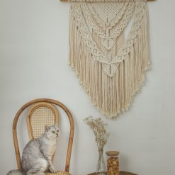 TDy Corners Macrame Wall Hanging For Gift And Home Decoration In Living Room, Bedroom, Nursery With Boho Style (100% Cotton, 22 inch W, 33 inch L, Wooden Stick Included) (6)
