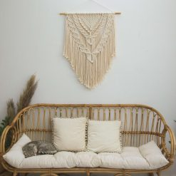 TDy Corners Macrame Wall Hanging For Gift And Home Decoration In Living Room, Bedroom, Nursery With Boho Style (100% Cotton, 22 inch W, 33 inch L, Wooden Stick Included)
