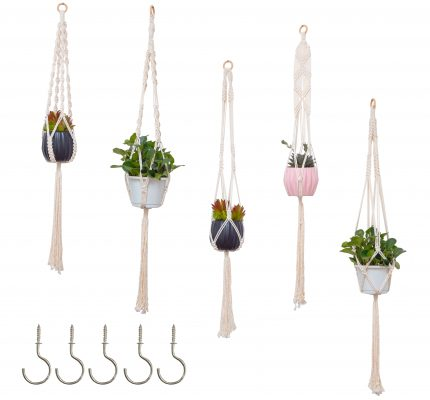 TDy Corners Set Of 5 Macrame Plant Hangers With 5 Hooks For Gift, Home Decoration, Vertical Garden With Boho Style (100% Cotton, Ivory-white, 45 Inches In Length, 5 Styles) (1)