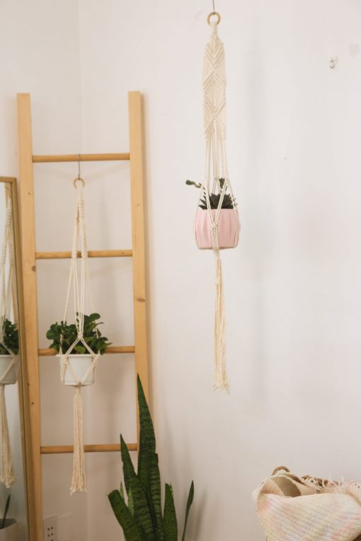 TDy Corners Set Of 5 Macrame Plant Hangers With 5 Hooks For Gift, Home Decoration, Vertical Garden With Boho Style (100% Cotton, Ivory-white, 45 Inches In Length, 5 Styles) (3)