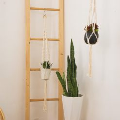 TDy Corners Set Of 5 Macrame Plant Hangers With 5 Hooks For Gift, Home Decoration, Vertical Garden With Boho Style (100% Cotton, Ivory-white, 45 Inches In Length, 5 Styles) (4)