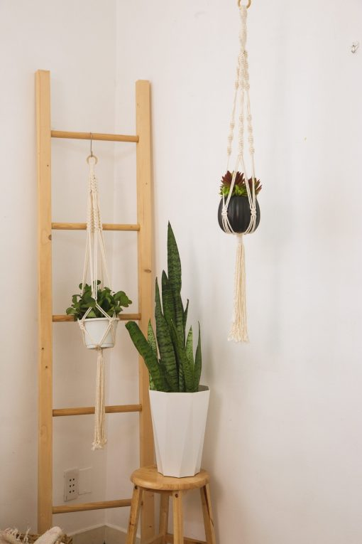 TDy Corners Set Of 5 Macrame Plant Hangers With 5 Hooks For Gift, Home Decoration, Vertical Garden With Boho Style (100% Cotton, Ivory-white, 45 Inches In Length, 5 Styles) (5)