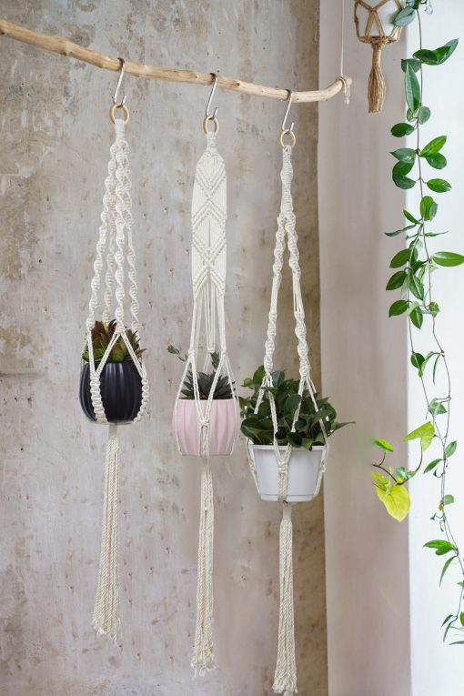 TDy Corners Set Of 5 Macrame Plant Hangers With 5 Hooks For Gift, Home Decoration, Vertical Garden With Boho Style (100% Cotton, Ivory-white, 45 Inches In Length, 5 Styles) (6)