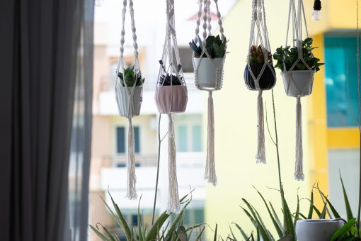 TDy Corners Set Of 5 Macrame Plant Hangers With 5 Hooks For Gift, Home Decoration, Vertical Garden With Boho Style (100% Cotton, Ivory-white, 45 Inches In Length, 5 Styles)
