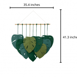 TDy Corners Set Of 9 Macrame Monstera Leaves Wall Hanging For Gift And Decoration In Living Room, Bedroom, Nursery With Boho Style (100% Cotton, 9 Leaves, Wooden Stick Included)