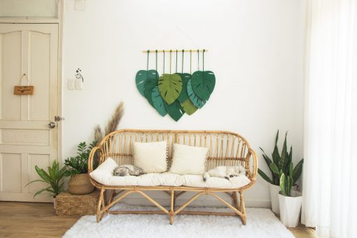 TDy Corners Set Of 9 Macrame Monstera Leaves Wall Hanging For Gift And Decoration In Living Room, Bedroom, Nursery With Boho Style (100% Cotton, 9 Leaves, Wooden Stick Included) (5)